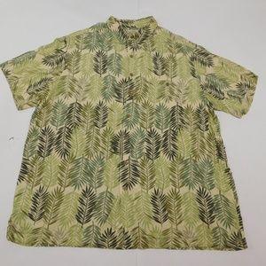 Caribbean 3XT Green Button Down Shirt  Rayon